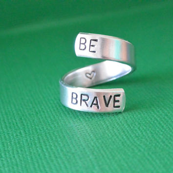 Be Brave Hand Stamped Spiral Ring Aluminum Skinny Cuff Adjustable With Heart Inspirational Motivational Quote