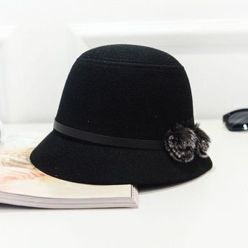 Wuaumx NEW Solid Autumn Winter Fedoras Hat For Women Female Bucket Top Hat For Lady Girl Church Hat Floppy Cartola Bowler Cap