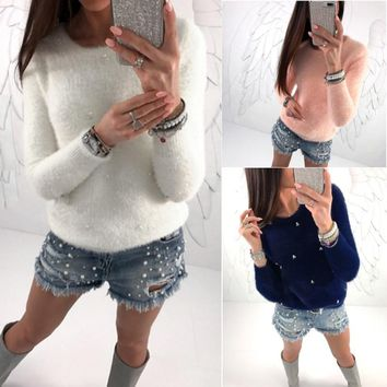 Women Long Sleeve Round Neck Faux Pearl Decorate Fuzzy Sweater Pullover coat Tops warm soft smooth sexy lady