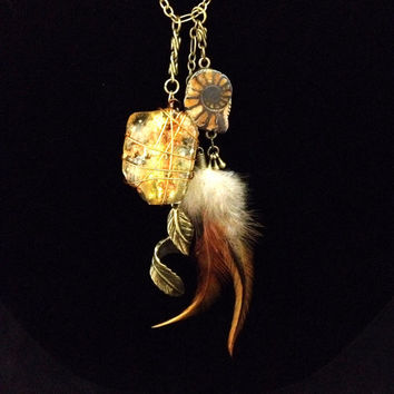 Ammonite fossil feather and young amber bronze long bohemian hippie necklace