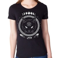 Magickal Protection Cat T-shirt - Ladies