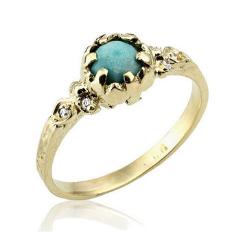 Turquoise Ring, Victorian Engagement Ring, December Birthstone, Turquoise Stacking Ring, Engagement Rings, Turquoise Jewelry, Boho Ring