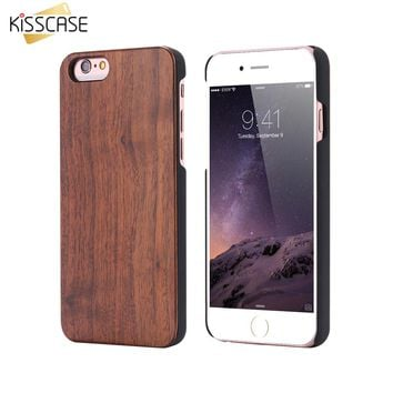 KISSCASE Bamboo Case For iPhone 6 6S Plus 7 Plus SE 5S Cases Natural Wood Protective Case For iPhone 8 8 Plus 7 6 6S Wood Cover