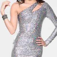 Glitter One Shoulder Long Sleeve Prom Dresses By Atria