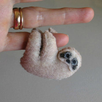 Sloth miniature felt plush stuffed animal with by wishwithme