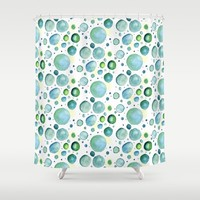 Bubbles Watercolor Shower Curtain by Doucette Designs