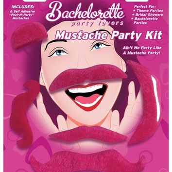 Bachelorette Party Favors Mustache Party Kit - Pink