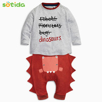 Baby Boys&Girls Clothing Sets 2016New Autumn Halloween Baby Clothes Long Sleeve Letter T-shirt+Dinosaur Casual Pants Cotton Suit