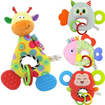 Monkey Giraffe Animal Stuffed Doll Soft Plush Toy Newborn Baby Kids Infant Toy Baby Rattles