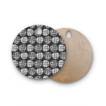 "Gill Eggleston ""Sketched Pods Carbon"" Black White Abstract Modern Digital Vector Round Wooden Cutting Board"