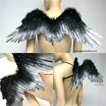 Small Black and Silver Fallen Angel Wings with Rhinestones Dance Costume Rave Halloween