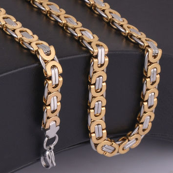 "9mm width 22"" length men's two tone choker necklace gold and silver 316L big link  chain  men's jewelry"
