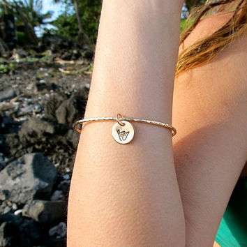 Shaka Bangle, Hawaiian, Gold Hammered Bracelet, Hawaii Beach Jewelry,