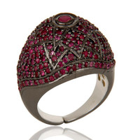 Victorian Estate Style Pave Setting Ruby Birthstone Gemstone 925 Silver Ring