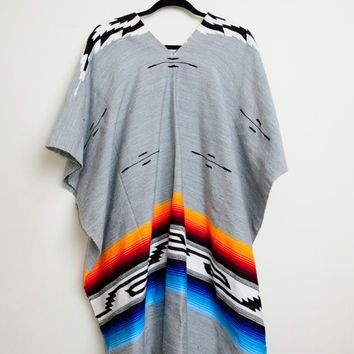 Vintage 80s/90s Awesome Navajo Native American Tunic Poncho Top With Beautiful Print and Fringe On Bottom Unisex