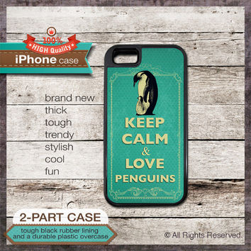 Keep Calm & Love Penguins iPhone 4/4S or iPhone 5/5S Case or Samsung Galaxy Case