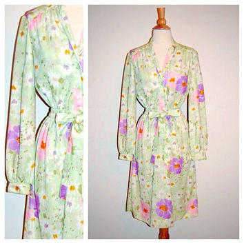 1970's Leslie Fay Dress . 70s Floral Secretary Dress . Pale Pastel Tie Waist . size M L
