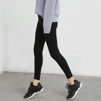Stretch Casual Korean Ladies Slim Black Leggings [9022835527]