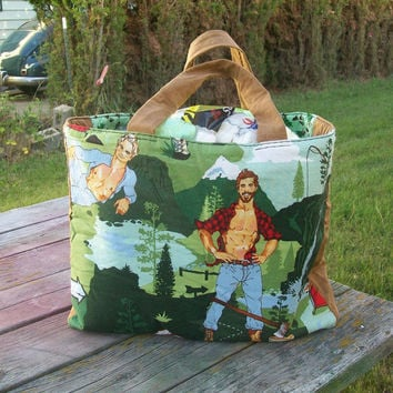 Tote Bag Pinup Outdoorsy Guys Fishing Rappelling Back Packing Chopping Wood Ready tp Ship Shopping Bag Grocery Bag