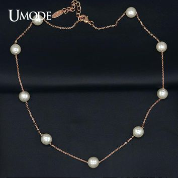 UMODE Rose Gold Color String of Beads 8mm Synthetic Pearl Necklace Women JN0133