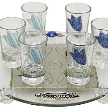 Cheers Collection Liquor Set with 6 Glasses Round And Tray Tulip - Ocean - Tray 15 inch  X 3.5 inch  - Cup 3.75 inch H
