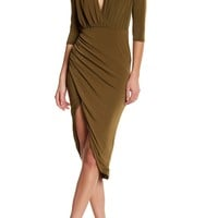 Missguided | Ruched 3/4 Length Sleeve Faux Wrap Dress | Nordstrom Rack