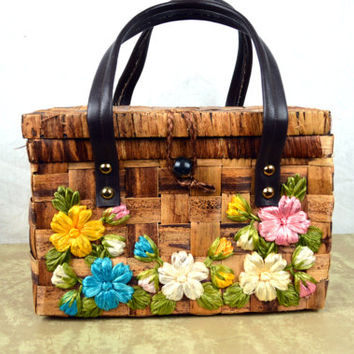 Cute Floral Basket Handbag Purse Case