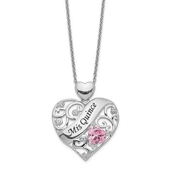 Sterling Silver Pink CZ Miss Quince Heart Pendant Quinceanera Necklace
