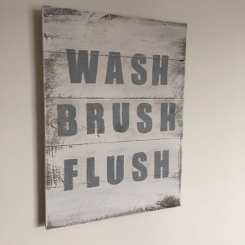 Wash Brush Flush Wood Sign | Bathroom Wall Decor | Bathroom Art | Gray and White Disstressed | Bathroom Rules