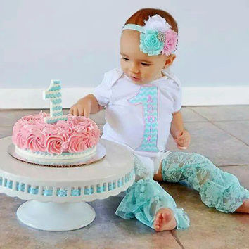 Girl 1st Birthday Outfit Aqua and Pink Chevron - Includes: Iron-On #1, Headband and Lace Leg Warmers - Smash Cake Photo