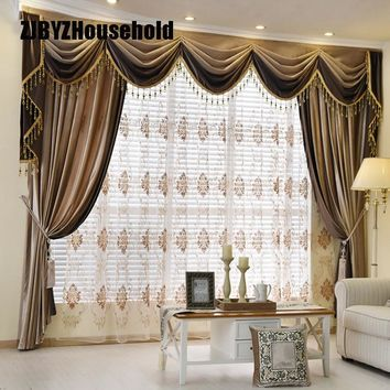 Luxury European Style Thickening Shading Pure Color Italy Velvet Head Curtains for Living Room Modern Window Valance for Bedroom