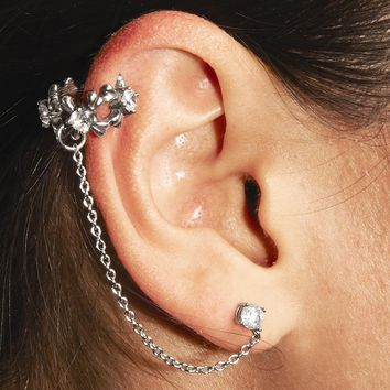 Stainless Steel Antiqued And Polished W/ Cz Cuff Earring (sold Single)