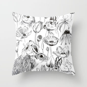 rabbits and flowers parties Throw Pillow by Color And Color