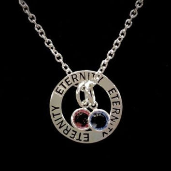 Birthstone Personalize Eternity Mother Wife Mother's Day Gift Charm Necklace