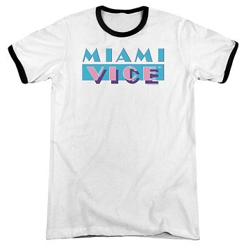 Miami Vice Logo Mens Adult Heather Ringer Shirt