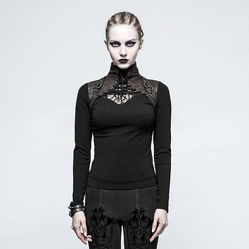 Unique Gothic Steampunk Lace Bustier Harness Long Sleeved Top