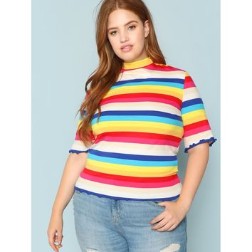 Plus Mock Neck Colorful Striped Tee