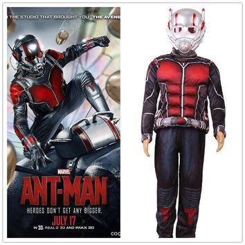 Child Deluxe Ant Man Muscle Costume 3pcs Outfit For Kids LED Masks
