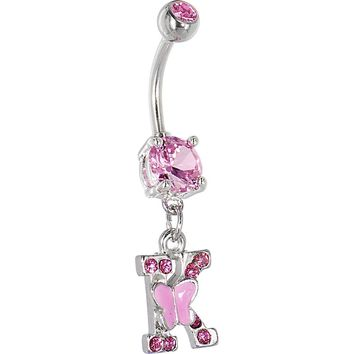 "Pink Gem Butterfly INITIAL Dangle Belly Ring - LETTER ""K"""