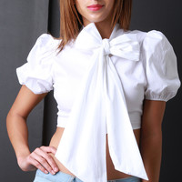 Oversize Bow Tie Collar Short Puff Sleeve Crop Top