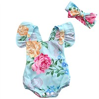 Newborn Infant Baby Girl Floral Button Romper Back cross Jumpsuit Clothes Outfits Sun suit Clothing