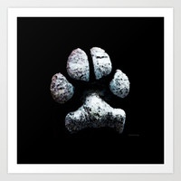 Dog Paw Print Pop Art Animal Lovers - South Paw Art Print by Sharon Cummings