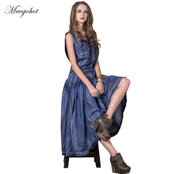 Woman Sexy Tassel Bohemian Denim Dress Summer Sleeveless Vintage Classic Long Jeans Dress Ancient Tank Robe Feeme Maxi HCH864
