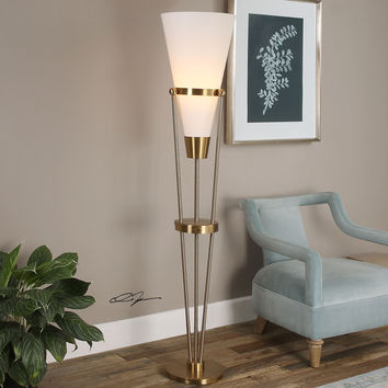 Bergolo Brushed Brass Floor Lamp