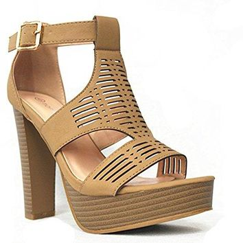 SF Top Moda Womens Cutout Gladiator Ankle Strap Platform High Block Heel Stiletto Heeled Sandals