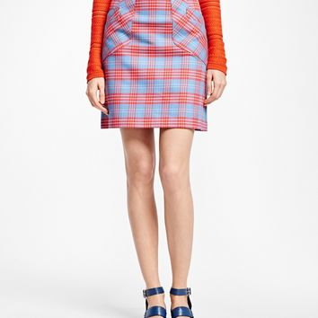 A-Line Cotton Plaid Skirt - Brooks Brothers