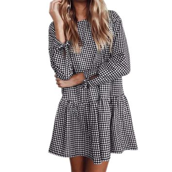 Women's Black/White Houndstooth Baby Doll Ruffle Tunic Style Long Sleeve Mini Dress with Ties and Back Button Detail
