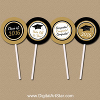 INSTANT DOWNLOAD Graduation Cupcake Toppers DIY - Printable 2016 Grad Party Decorations - Printable Black and Gold Graduation Party Supplies