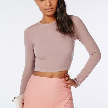 Missguided - Ribbed Long Sleeve Crop Top Mauve