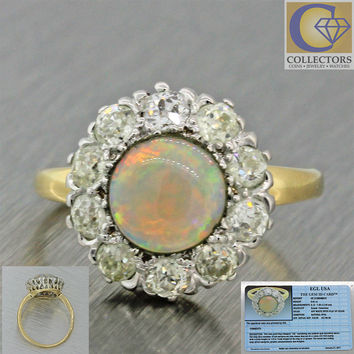 1920s Antique Art Deco 14k Solid Gold Opal Diamond Halo Engagement Ring EGL